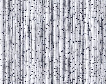 5065-090 KNOCK ON WOOD Lt. Grey Tree Fabric, Quilt Fabric, Blank Quilting, Wood Birch Trees, White Birch Trees, Quilt Shop Fabric