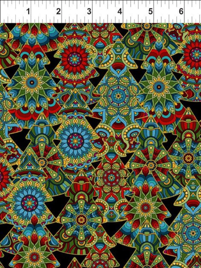 Quilt Fabric RedBlackTealGreenGold In The Beginnning Fabrics Christmas With Gold Metallic 3ACW-1M A CELESTIAL WINTER Jason Yenter