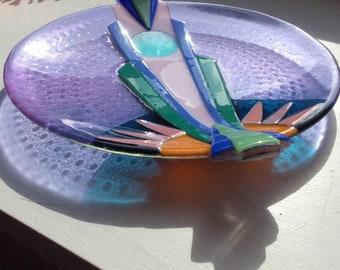 Art Deco design fused glass platter