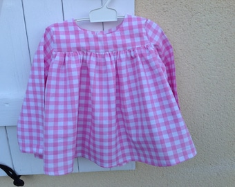 White / pink gingham blouse (6colors available)