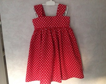 Dress with Red Suspenders with white hearts