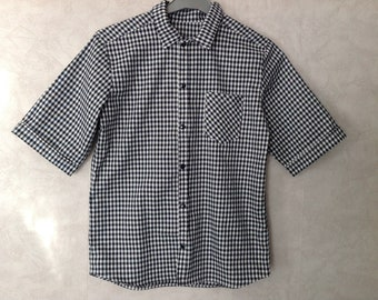 Navy blue gingham cotton shirt for spring summer from 2 to 16 years