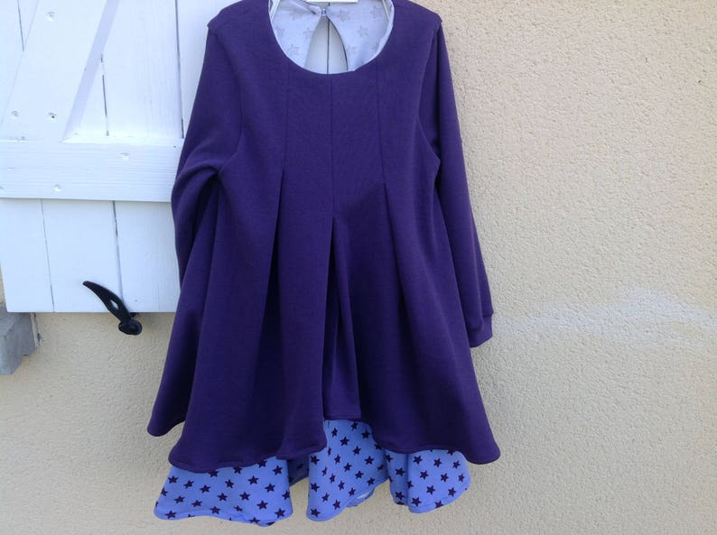 5f725ab3b46 Autumn winter girl dress purple and lilac a pois