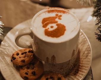 Santa Coffee Stencil Etsy