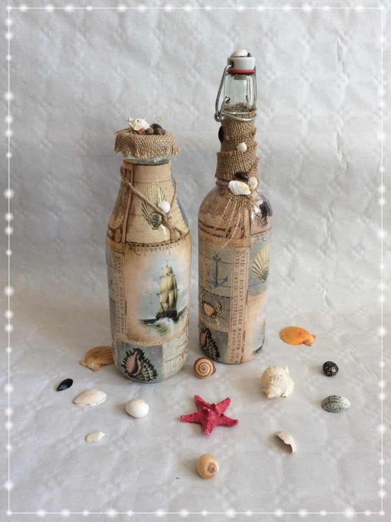 Flaschen Set Maritime Glas Dekoration Strand Meer Etsy