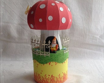 Gift Wrapping, spring, dwarf, nature, fantasy, butterflies, joy, red, white, green, yellow, fence, mushroom, decoration, Easter