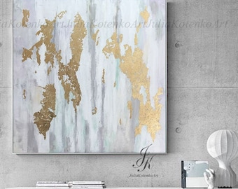 Large Abstract Acrylic Painting Large Wall Art Gold Leaf Art Modern Art Original Painting Abstract Painting On Canvas by Julia Kotenko