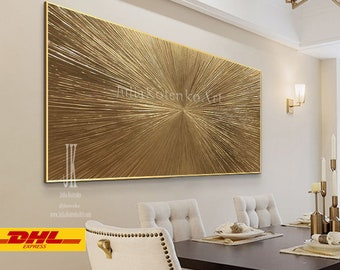 Gold Leaf Painting, Textured Wall Art, Extra Large Wall Art, Over the bed decor, Oversized canvas art, Apartment Decor  by Julia Kotenko
