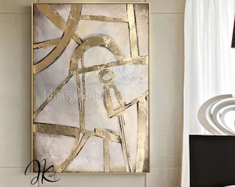 Oversize Abstract Oil Painting Original art,Gold Leaf painting,Textured Wall Decor Bedroom Above bed,Textured Painting by Julia Kotenko