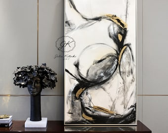 Large Gold Leaf Abstract Painting Black and White Art Abstract Oil Painting Large Canvas Art Paintings On Canvas by Julia Kotenko