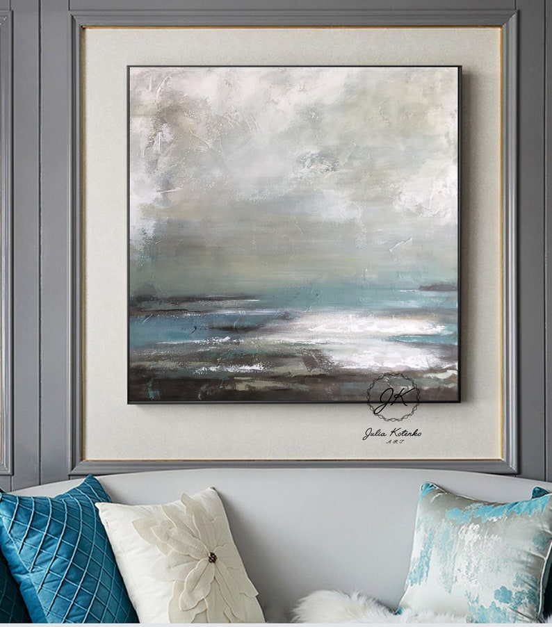 Landscape Paintings On Canvas Grey Canvas Wall Art Abstract Landscape Painting Bedroom Wall Art Painting Hallway Wall Decor By Julia Kotenko