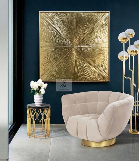 Gold Leaf Painting Large Wall Art Gold Wall Decor Texture Etsy