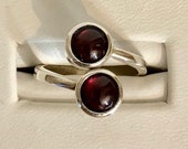 Sterling Silver 6mm Bypass Ring- 6mm Garnet Cabochon Stones 934