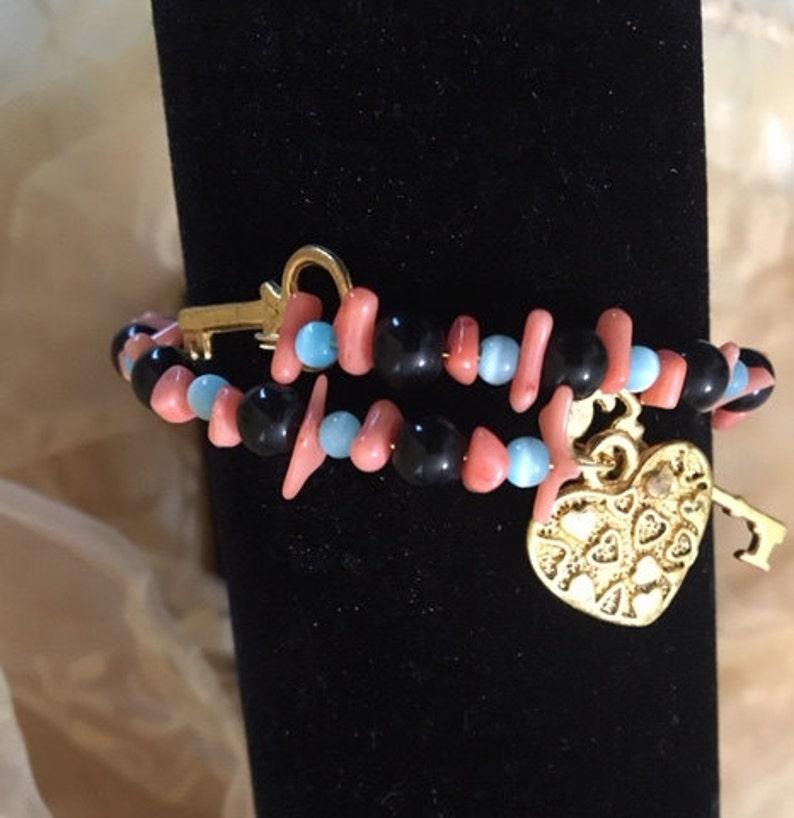 Black Obsidian Blue Cat/'s Eye Salmon Coral Bracelet       694 Key to My Heart