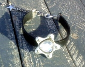 Boho chic black leather bracelet - Christal clear glass charm cuff,