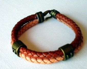 Men's Braided leather cuff two colors brown and copper color tubes double classic leather bracelet