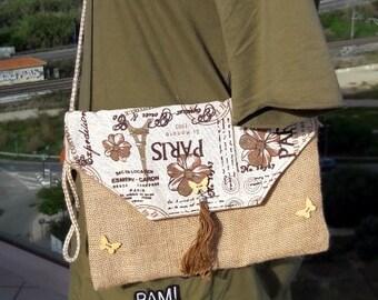 Basic envelope bag Linen/ cotton clutch  or cross body bag, Sand and cream color bag