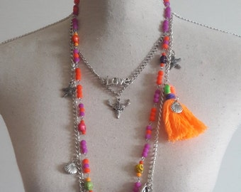 Ibiza tassel and charms multicolor strand necklace, 3 layers Boho necklace