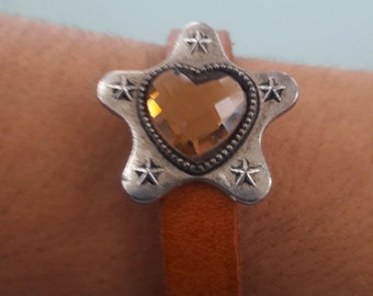 Boho chic  Natural leather cuff, Crystal heart charm bracelet