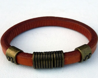 Men's leather cuff, Leather and copper tubes with magnetic closure bracelet, Brown thick leather modern bracelet