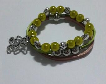 Boho leather beaded bracelet set, Lemon green beaded glass beaded stretch bracelet set 6 > 8 years