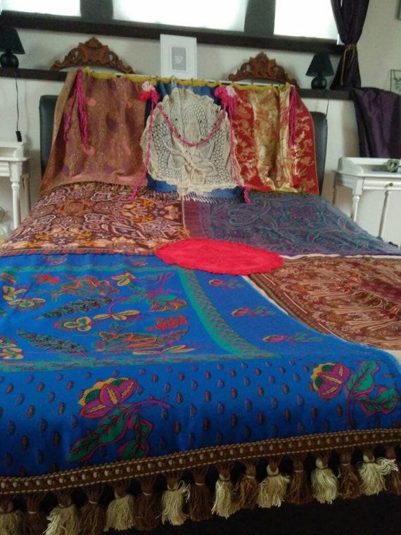 Handmade Ooak Boho Gypsy Hippie Bohemian Vibrant Bed Throw Bohemian Gypsy Curtain Valance Boho Home Decor Bedroom Bedding True Bohemia