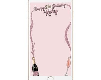 21st Birthday Snapchat Filter, Popping Bottles Geofilter, Champagne Filter