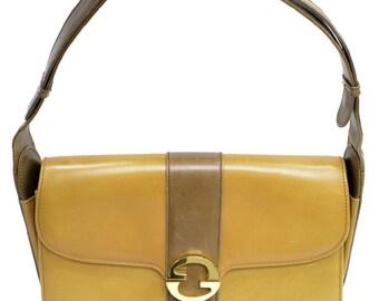 83ddc22ac749 VINTAGE GUCCI Two-Tone Leather Shoulder Bag Purse GG 1970s Glam w  cloth  storage bag
