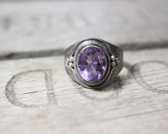 Vintage Sterling Silver Ring with Large Purple Gemstone, Size 8.5