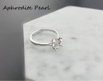 sterling silver ring setting, adjustable ring mounting,jewelry DIY,gift DIY, fresh, simple, elegant and all-matched
