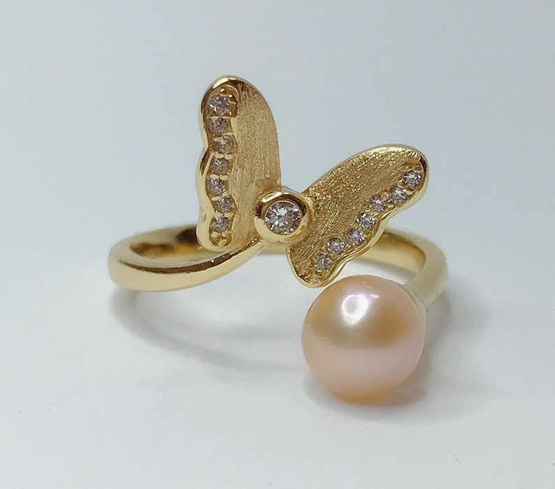 pearl mounts gift DIY ring blank for jewelry DIY Adjustable solid S925 sterling silver with 18K gold plated ring setting