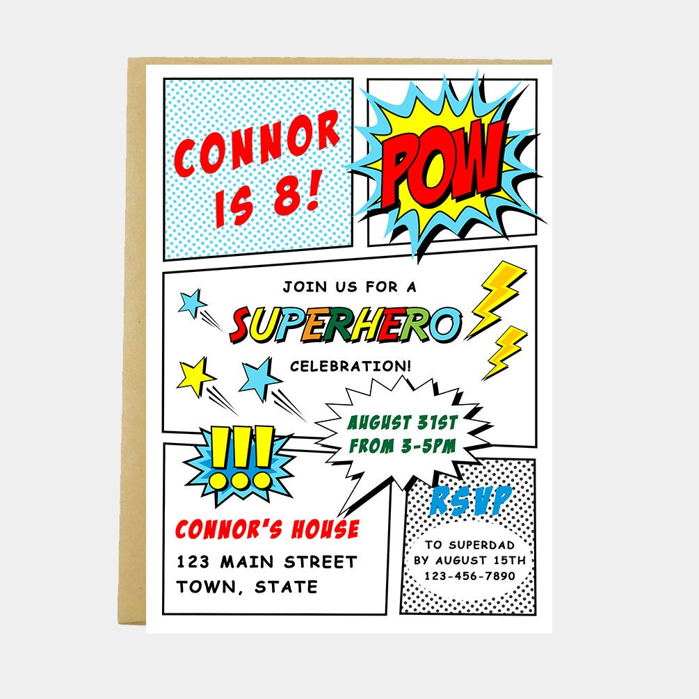Superhero Birthday Party Invitation Super Hero Comic | Etsy