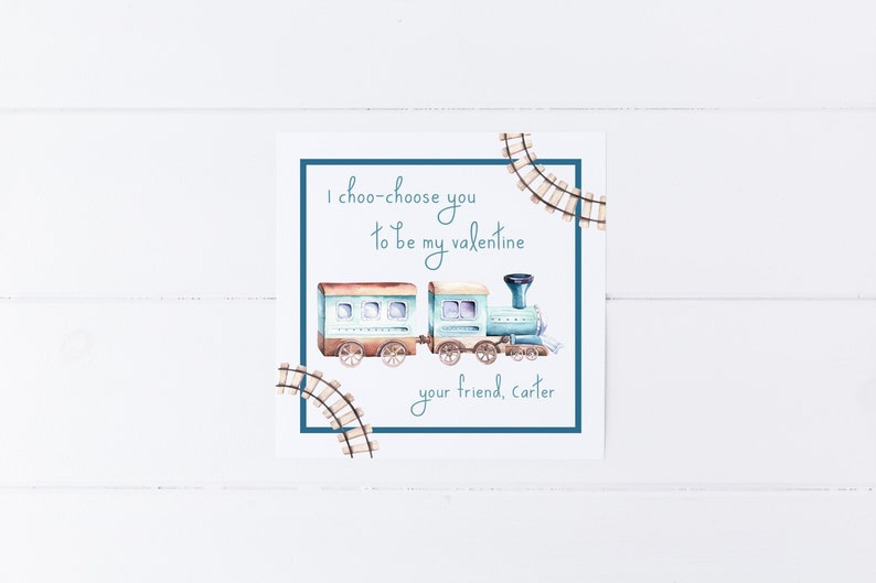 picture about I Choo Choo Choose You Printable Card referred to as Custom made Practice Valentine Tag, I Choo Decide By yourself Valentine, Watercolor Prepare, Boy Valentine Card, Watercolor Valentine Tag, Printable Valentine
