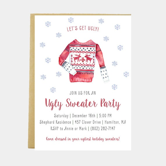 Ugly Sweater Party Invitation Christmas Party Invitation Etsy