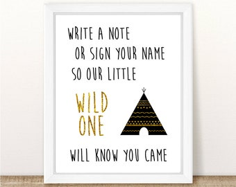 Wild One Guest Book Print, Teepee Guest Book, Wild One Party, Shower, Where The Wild Things Are First Birthday, Printable, INSTANT DOWNLOAD