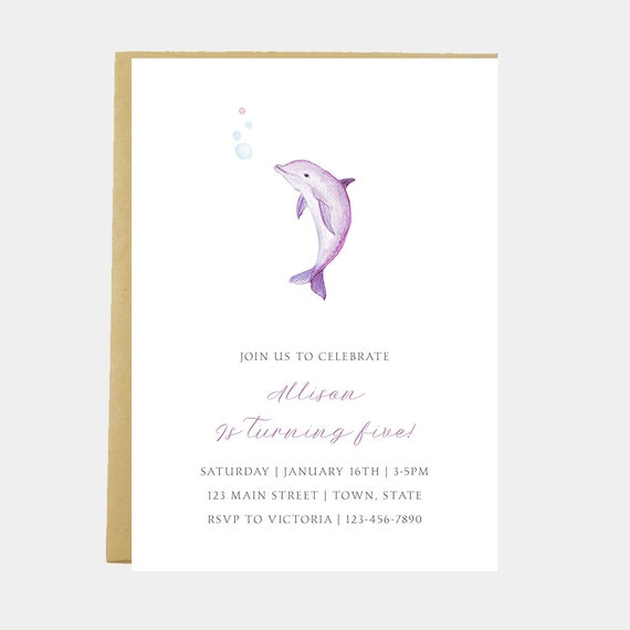Dolphin Birthday Party Invitation Sea Animal Ocean Under The Printable Printed
