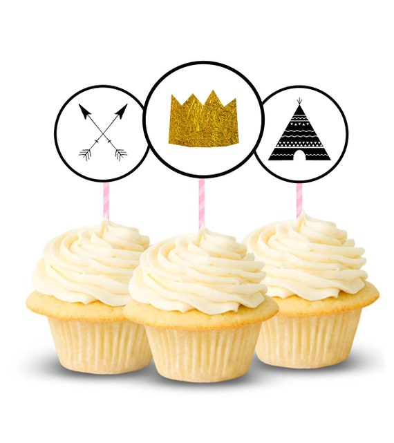 graphic regarding Printable Cupcake titled Wild One particular Printable Cupcake Toppers, 2.5 inches, 3 Plans, Wherever The Wild Elements Are, Boho, Tribal, Crown Cupcake, Arrows, 1st Birthday