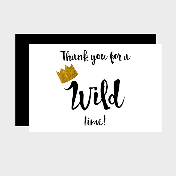 Wild One Thank You Card Where The Wild Things Are Thank You Etsy