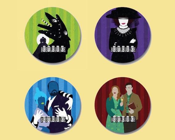 "Beetlejuice Broadway Musical Theater Inspired Buttons Set 8 Pins 1.25/"" Shirt Art"