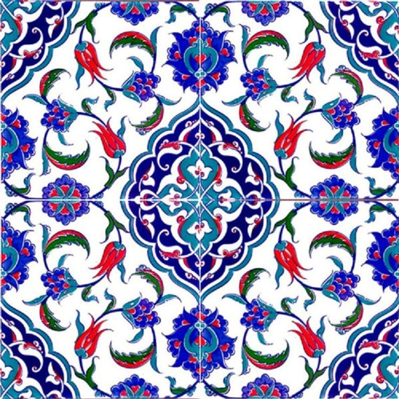 Wall Decor Tiles Turkish ottoman style 4 pcs Turkish Ceramic Tiles 4 pcs 20x20 cm,40x40 cm Decor Design Kutahya,Iznik Ceramic