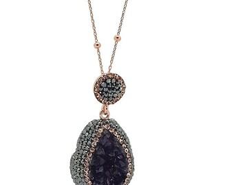 Great Gift!!!Turkish Handmade Amethyst Topaz 925 Silver Swarovski Rose Necklace