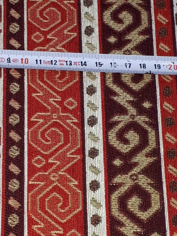 "SWATCH 4"" X 7"" Red Designer Kilim Rug Inspired Upholstery Fabric"