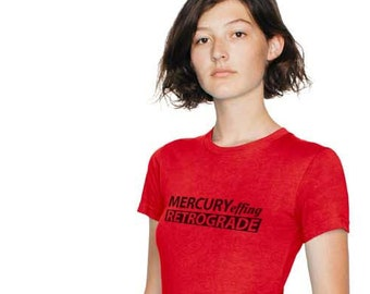SALE: Mercury Effing Retrograde Short Sleeve Women's T-shirt in white, gray, and red - Lucky Star Dreams