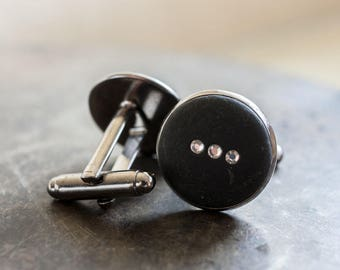 Orion's Belt Cufflinks, Crystal Stars, Men's Constellation Jewelry [Lucky Star Dreams]