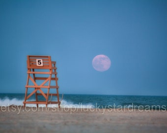 Moon photography, Summer Solstice Full Moon Rising 11x14 | Lucky Star Dreams, full moon, lunar, jersey shore, Crest 5 lifeguard stand