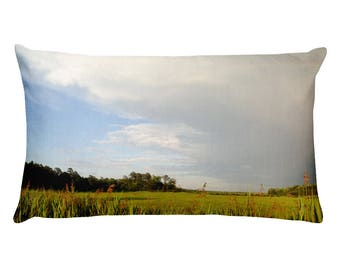 Panoramic Creek Meadow Sunny Stom Rainbow Pillow | Housewarming | Dennisville, NJ | Lucky Star Dreams