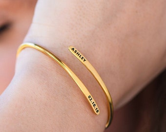 Personalized Adjustable Engraved Cuff Bracelet Gold Silver- Custom Made Jewelry Birthday  Gift for Her Mom Daughter Girlfriend