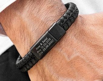 Personalized Engraved Man Bracelet All Black Stainless Steel & Leather- Custom Men's Bracelet Wedding Gift for Him Boyfriend Husband Son