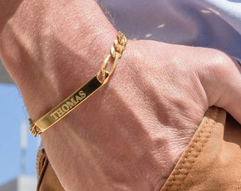 Personalized Men's ID Engraved Bracelet Gold Silver-Custom Man Gifts Engraving Birthday Wedding Jewelry Gift for Dad Father Boyfriend