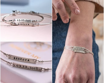 0a7030640 Personalized Stamped Custom Name Sterling Silver 925 Cuff Bangle Bracelet  Plate Bar- Braids Gradation Mom Jewelry Gift- name bracelet